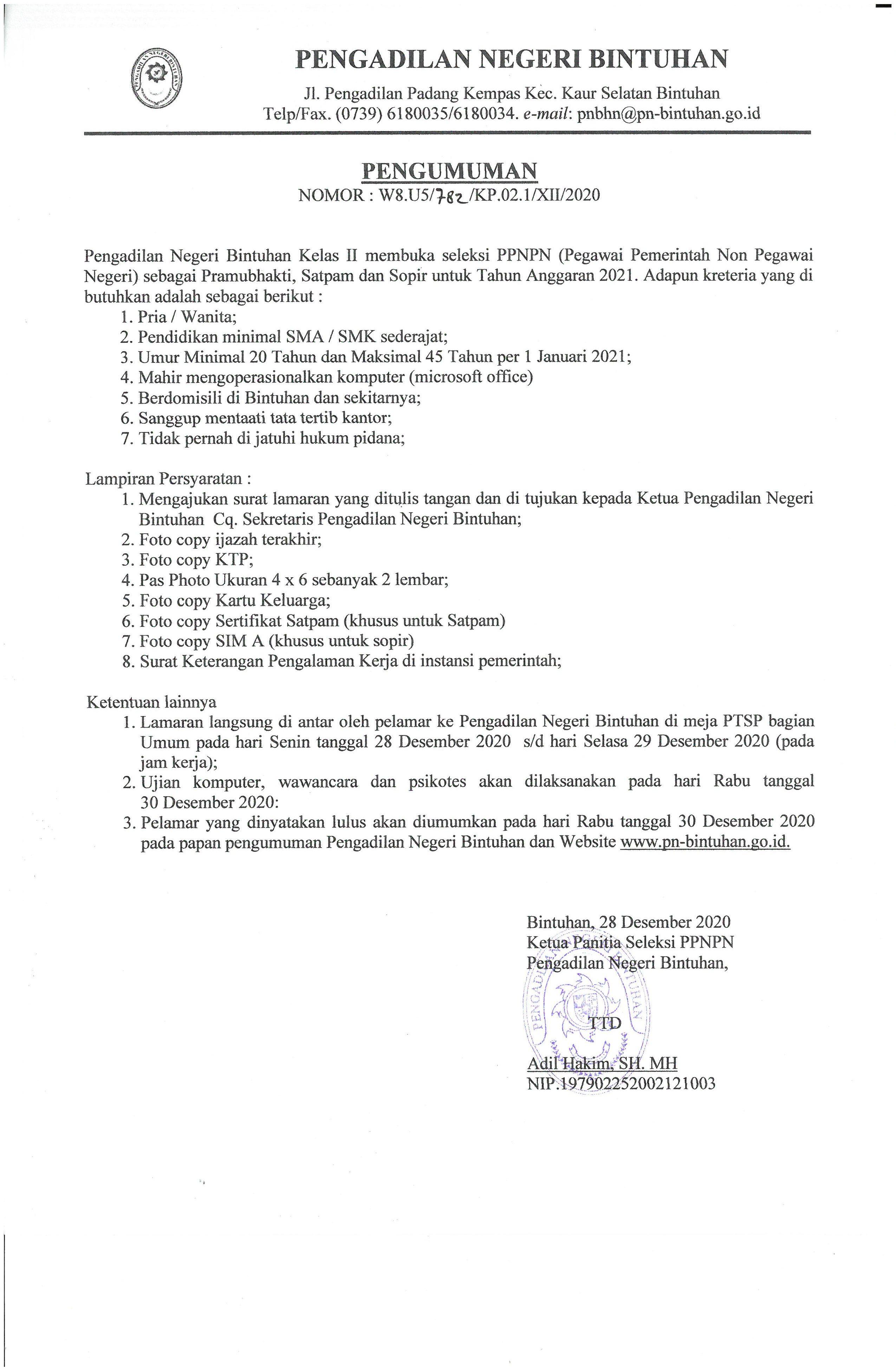 Pengumuman Pendaftaran Seleksi PPNPN Tahun 2021