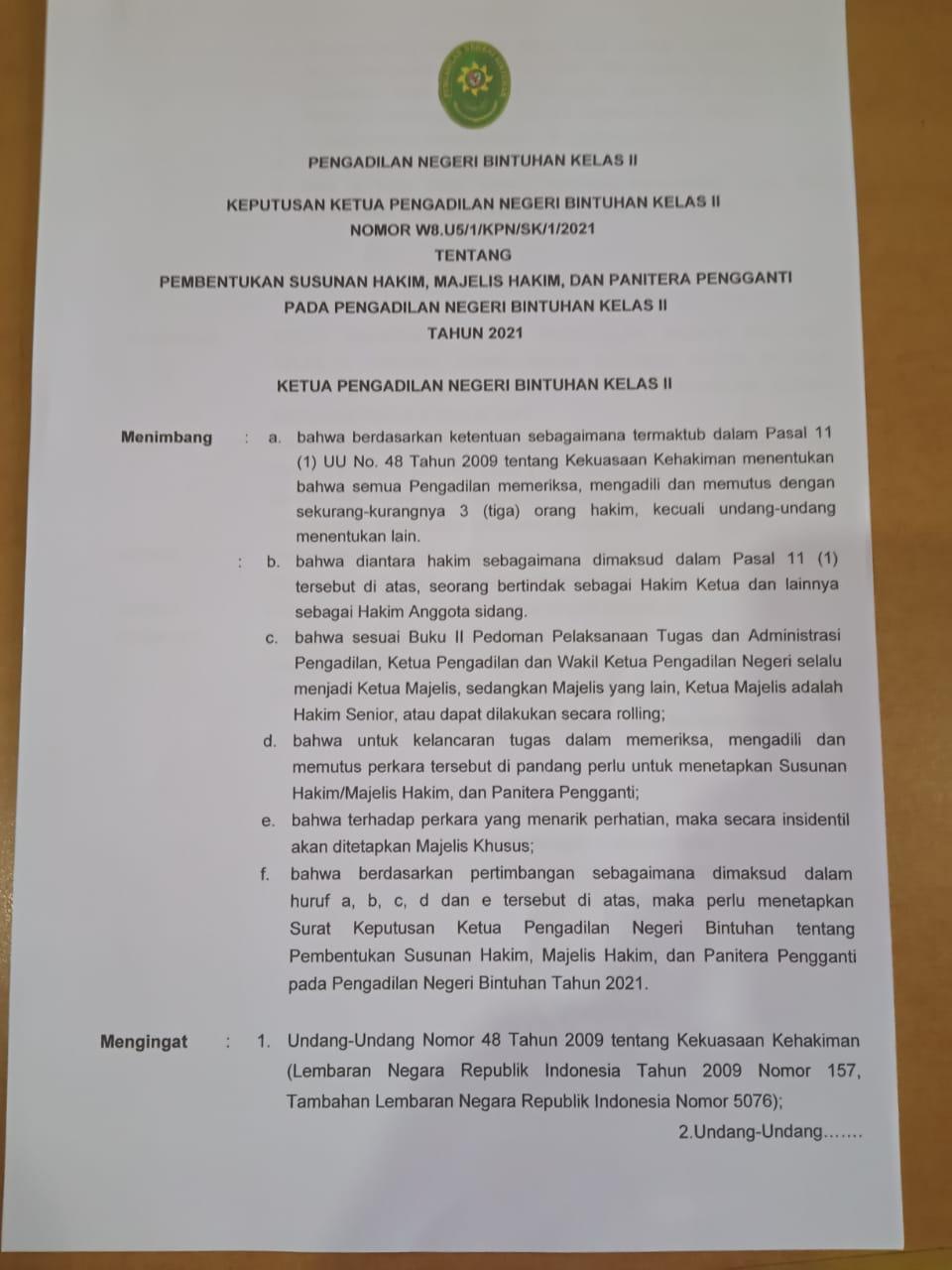 Sosialisasi dan Pendistribusian Surat Keputusan (SK) Terbaru Tahun 2021