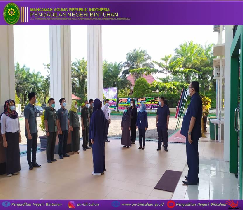 Apel Pagi dipimpin oleh Ketua Pengadilan Negeri Bintuhan Bapak Adil Hakim, S.H.,M.H